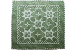 """Feathered Star"" in Sage-White Cover-Up Quilt 54"" x 54"""