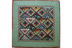 """Mississippi Backroads"" in Sage-Lake-Red Cover-Up Quilt 59"" x 59"""