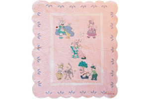 """Bunny Family"" in Pink Crib Quilt 45"" x 53"""