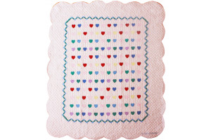 """Lollipop Pink with Multi Mini Hearts"" Crib Quilt 40"" x 52"""