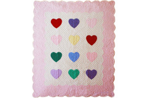 """Multi Heart"" in White-Pink Crib Quilt 40"" x 49"""