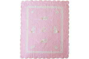 """Bunny"" in Pink Crib Quilt 41"" x 52"""