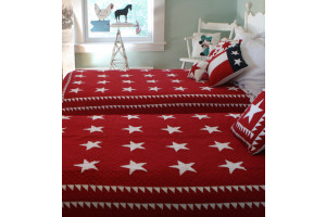 """Patriotic Stars"" in Red-White Twin Quilt 64"" x 85"""