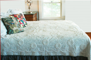 """Trapunto"" in White-Celadon Reversible Queen Quilt 85"" x 95"""