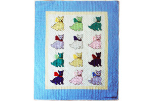 """Polka Dotted Dog"" Multi-Color Crib Quilt 43"" x 53"""
