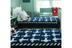 """Airplane"" in Navy-White Twin Quilt 64"" x 85"""
