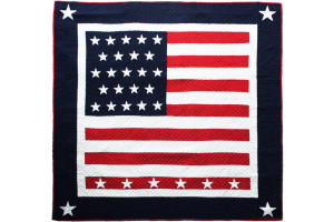 """Patriotic Flag"" in Red-White-Navy Cover-Up Quilt 56"" x 56"""