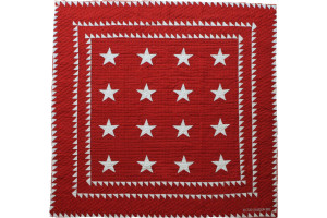 """Patriotic Stars"" in Red-White Cover-Up Quilt 56"" x 56"""