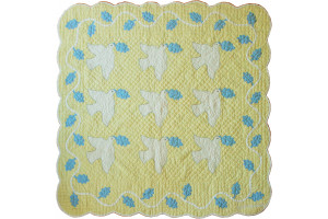 """Doves"" in Butter-Blue-White Cover-Up Quilt 48"" x 49"""