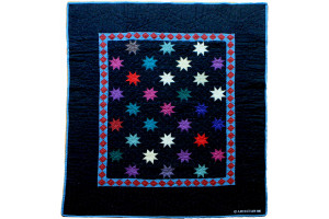"""Eight Point Twinkle Star"" in Black Cover-Up Quilt 46"" x 56.5"""