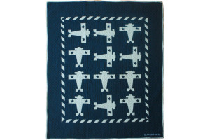 """Airplane"" in Old Blue-White Crib Quilt 44"" x 55"""