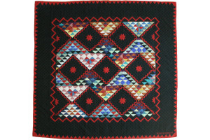 """Mississippi Backroads"" in Black-Red Cover-Up Quilt 59"" x 59"""
