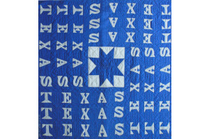 """Texas Lone Star"" in French Blue Cover-Up Quilt 46"" x 46"""