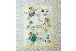 """3-D Three Little Bears"" in Apple-Blue-Pink Crib Quilt 38"" x 48"""
