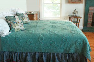 """Trapunto"" in Celadon-White Reversible Queen Quilt 85"" x 95"""