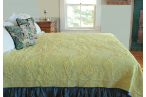 """Trapunto"" in Butter-Periwinkle Reversible Queen Quilt 85"" x 95"""
