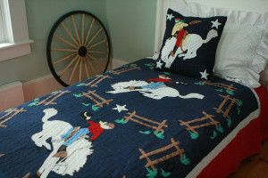 """Bucking Bronco"" in Navy-Red-White Twin Quilt 64"" x 85"""