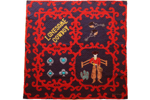 """Lonesome Cowboy"" in Navy-Red Cover-Up Quilt 55"" x 55"""