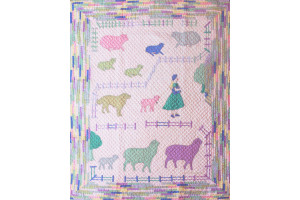 """Mary Had a Little Lamb Who Followed Her to School One Day"" in Pink Crib Quilt 42"" x 54"""