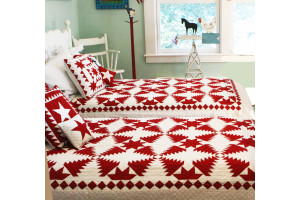 """Pineapple Log Cabin"" in Red-White Twin Quilt 64"" x 85"""