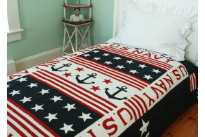 """U.S. Navy"" in Red-White-Navy Twin Quilt 64"" x 85"""