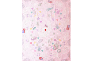 """Mr. Moon"" in Pink Crib Quilt 43"" x 56"""