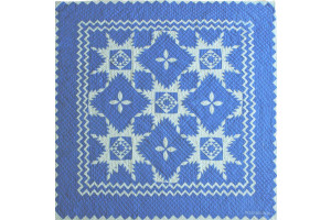 """Feathered Star"" in Cornflower-White Cover-Up Quilt 54"" x 54"""