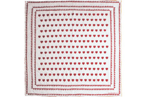 """Mini Heart"" White-Red Cover-Up Quilt 54"" x 54"""