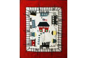 """Local Loco"" in Red-White Crib Quilt 42"" x 53"""