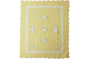 """Bunny"" in Butter Crib Quilt 41"" X 52"""