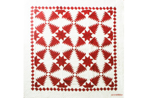 """Pineapple Log Cabin"" in Red-White Cover-Up Quilt 54"" x 54"""