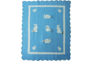 """Bunny"" in Blue Crib Quilt 41"" x 52"""