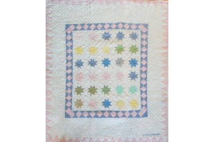 """Pastel Twinkle Stars"" in White-Pink Crib Quilt 45"" x 62"""