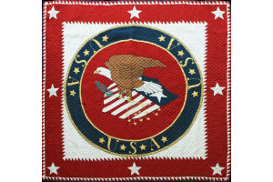 """American Eagle USA"" in Crimson-White Cover-Up Quilt 63"" x 63"""