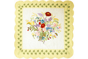 """Summertime"" in White-Butter Cover-Up Quilt 62"" x 62"""