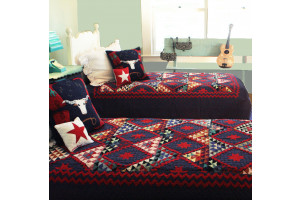 """Mississippi Backroads"" in Lake-Red Twin Quilt 64"" x 85"""