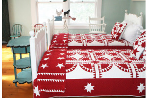 """New York Beauty"" in White-Red Twin Quilt 64"" x 85"""