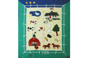 """McDonald's Farm"" in Butter-Spruce-Royal Crib Quilt 46"" x 55"""