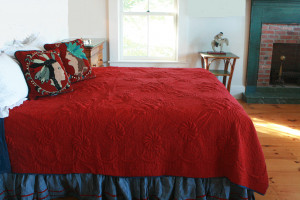 """Trapunto"" in Crimson-Old Blue Reversible Queen Quilt 85"" x 95"""