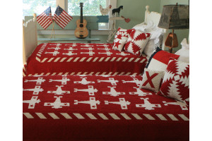 """Airplane"" in Red-White Twin Quilt 64"" x 85"""