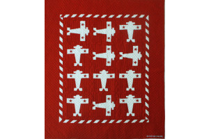"""Airplane"" in Red-White Crib Quilt 44"" x 55"""