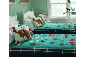 """McDonald's Farm"" in Apple-Royal Twin Quilt 64"" x 85"""