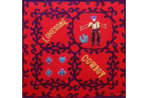 """Lonesome Cowboy"" in Red-Navy Cover-Up Quilt 55"" x 55"""