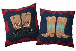 """Big Boots"" in Navy-Red Throw Pillows"
