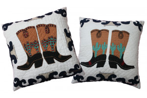 """Big Boots"" in White-Navy Throw Pillows"