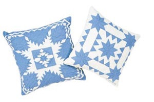 """Feathered Star"" & ""Sawtooth with Stars"" in Cornflower-White Throw Pillows"