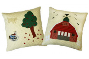 """McDonald's Farm"" in Butter Throw Pillows"