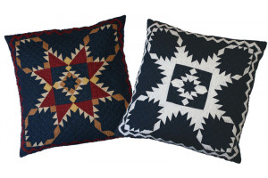 """Feathered Star"" in Navy Throw Pillows"