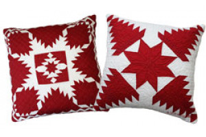 """Feathered Star"" & ""Pineapple Log Cabin"" in Red-White Throw Pillows"
