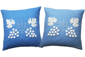"""Grape Cluster"" in Periwinkle & Cornflower Throw Pillows"